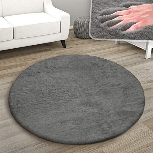 Paco Home Teppich Rund Fellteppich Kunstfell Plüsch Bettvorleger Shaggy Wohnzimmer Kinderzimmer, Grösse:Ø 120 cm Rund, Farbe:Anthrazit