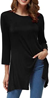 Womens Casual Tunic Tops, 3/4 Sleeve Flare Flowy Loose Tops Women O-Neck Ladies Plus Size T-Shirt for Leggings S~XL