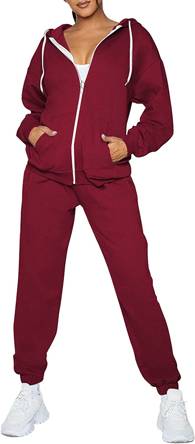 Fixmatti Womens Tracksuit Zip Up Jogger Sets Hoodie Ranking TOP4 Manufacturer regenerated product w Sweatsuits
