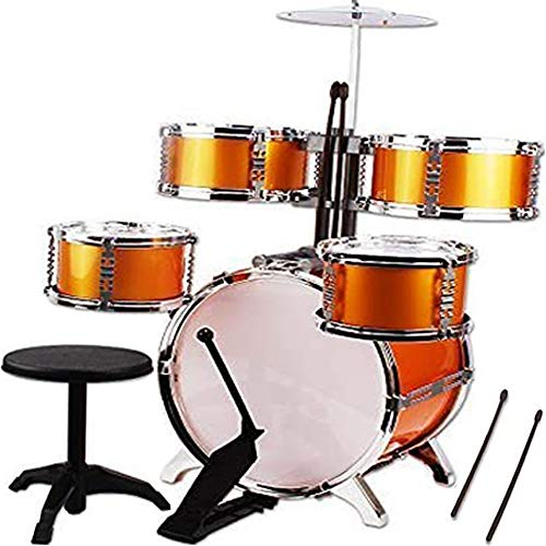 NiGHT LiONS TECH Music Jazz Drum Rock Set Toy Big Band Drum 6 Pcs (5 pcs Drum and 1 pcs Chair) Educational Toys for Kids Party Game