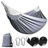 Anyoo Single Cotton Outdoor Hammock Multiples Load Capacity Up to 450 Lbs Portable with Carrying Bag for Patio Yard Garden