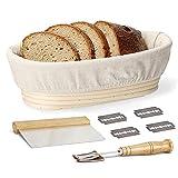 Juego de cestas de fermentación ovaladas de 10 pulgadas para masa de pan de caña de rota natural, ideal para pan, con inserciones de lino, raspador de metal y estuche, cuchillas extra