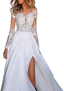 Aihong Women's Lace Split Ends Beach Wedding Dress Prom Dress Boho Wedding Gowns Bridal Dresses