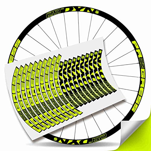 Kit Pegatinas Bicicleta Stickers LLANTA Rim Progress DYN 29' MTB BTT B (Amarillo Fluor)