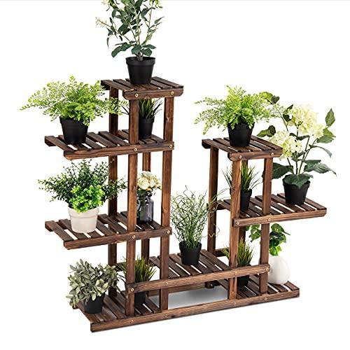 RELAX4LIFE Blumenständer Holz, Pflanzenständer 6 Ebenen, freisthendes Pflanzenregal für Wohnzimmer & Balkon & Garten, Blumenregal mit karbonisierter Textur, bis 40 kg belastbar, 120 x 25 x 96 cm