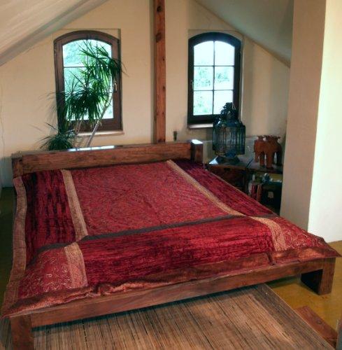 Guru-Shop Brokat- Samtdecke, Tagesdecke, Bettüberwurf - Rot, Synthetisch, 270x230 cm, Patchwork Steppdecke aus Indien