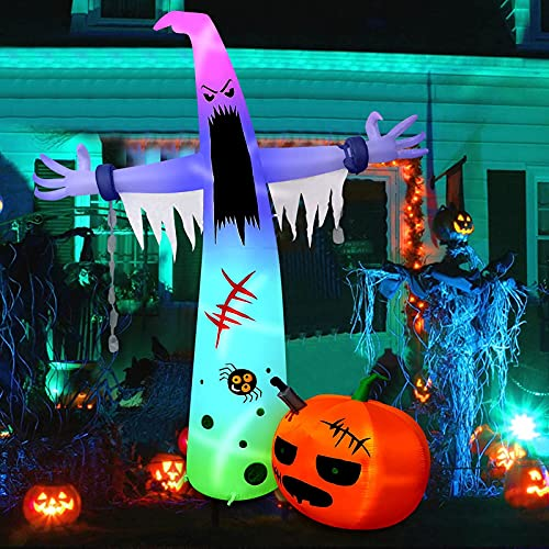 HBlife 12 FT Halloween Decoration Inflatable Ghost, Blow Up Animated Ghost with Build-in LEDs, Outdoor Scary Inflatable Decoration with Pumpkin for Front Yard, Porch, Lawm or Halloween Party Indoor