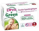 Love & Green Couches Bébé Hypoallergéniques 0% Taille 4 (7-14 kg) 46 couches