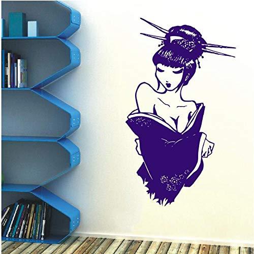 Wandaufkleber Schönheitssalon Vinyl Aufkleber Poster Japanische Manga Japanische Geisha Oriental Mädchen Schlafzimmer Wohnkultur Kunst...