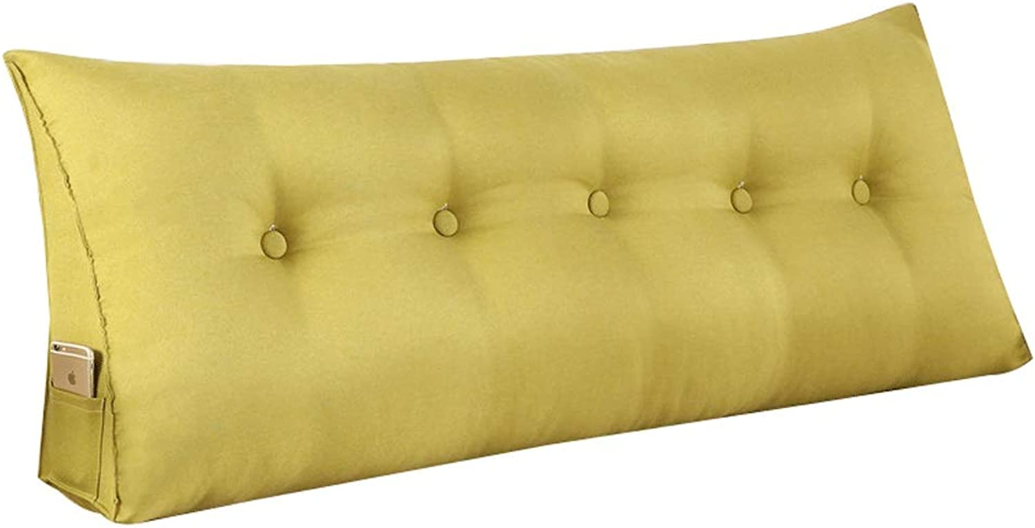Triangle pad Back cushion Flax Mattress Sofa Bed Rest pad (color   Yellow, Size   150  20  50cm)