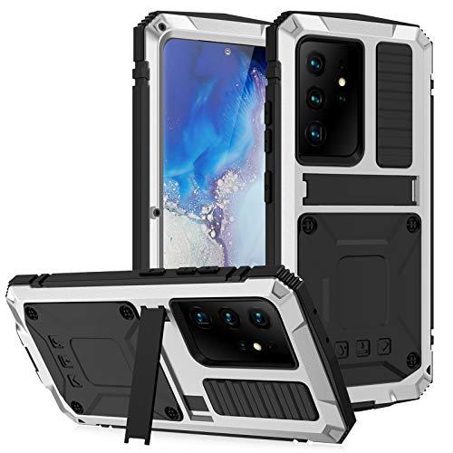 Funda para Samsung Galaxy S21 Ultra, [Antigolpes] Carcasa Resistente Reforzada Metálica Grado Militar con Protector de Pantalla, para Galaxy S21/S21 Plus/S21 Ultra,Silver,S21 Ultra