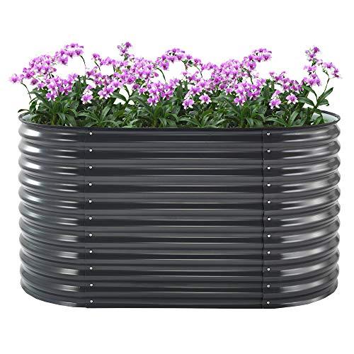 Zelsius Hochbeet für Garten I (B) 160 x (T) 80 x (H) 82 cm I Gartenbeet Anthrazit I Metall Gemüsebeet, Wellblech Kräuterbeet