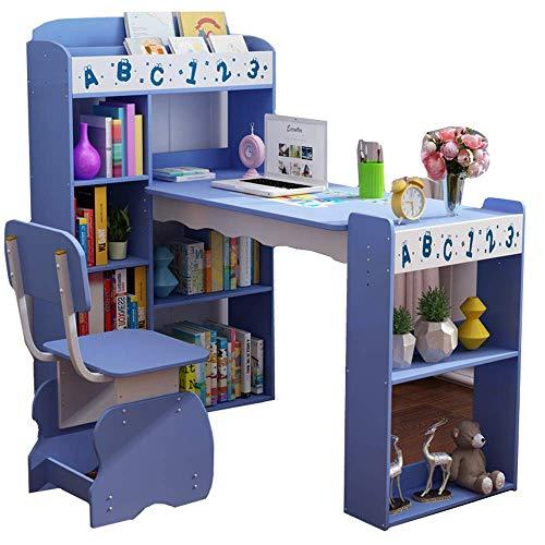 Living Equipment Table d'étude de bureau réglable pour enfants Brisk avec étagère de rangement et 1 chaise 3 niveaux de réglage de la hauteur Mobilier parfait pour la chambre des garçons et des fil