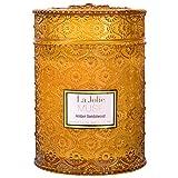 La Jolíe Muse Bougie Parfumées Ambre Grande Bougie en Verre Mèche en Bois Cadeau pour Fête 550g