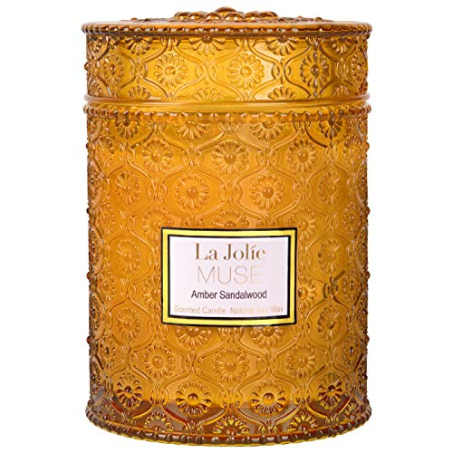 LA JOLIE MUSE Wood Wick 19.4oz Sandalwood Scented Candles Soy Wax Candle Large Glass Jar 90 Hours, Gift Candle for Her