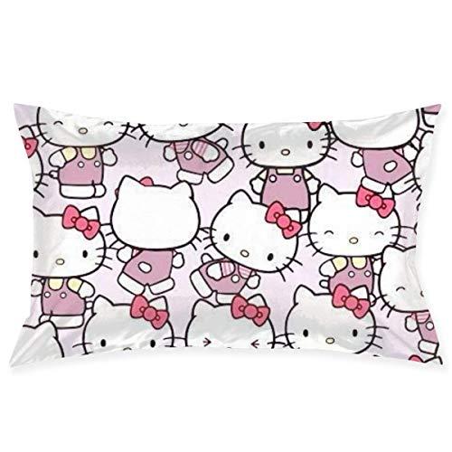 xuexiao Hello Kitty - Funda de cojín con diseño de dibujos animados, suave, decorativa, para cama infantil, hogar, cojín moderno, 20 x 30 pulgadas