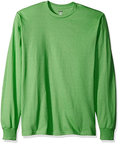 MJ Soffe Men's Long-Sleeve Cotton T-Shirt, Poison Green, X-Large