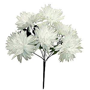 White 6 Head 4 Inch Spider Mums Silk Wedding Flowers Fall Bouquet Fake Faux Artificial ART1