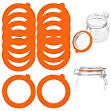 Stosts 12 Pack Silicone Replacement Gasket, Airtight Rubber Seals Rings for Mason Jar Lids, Leak-proof Canning Silicone Fitting Seals for Glass Clip Top Jars, Orange