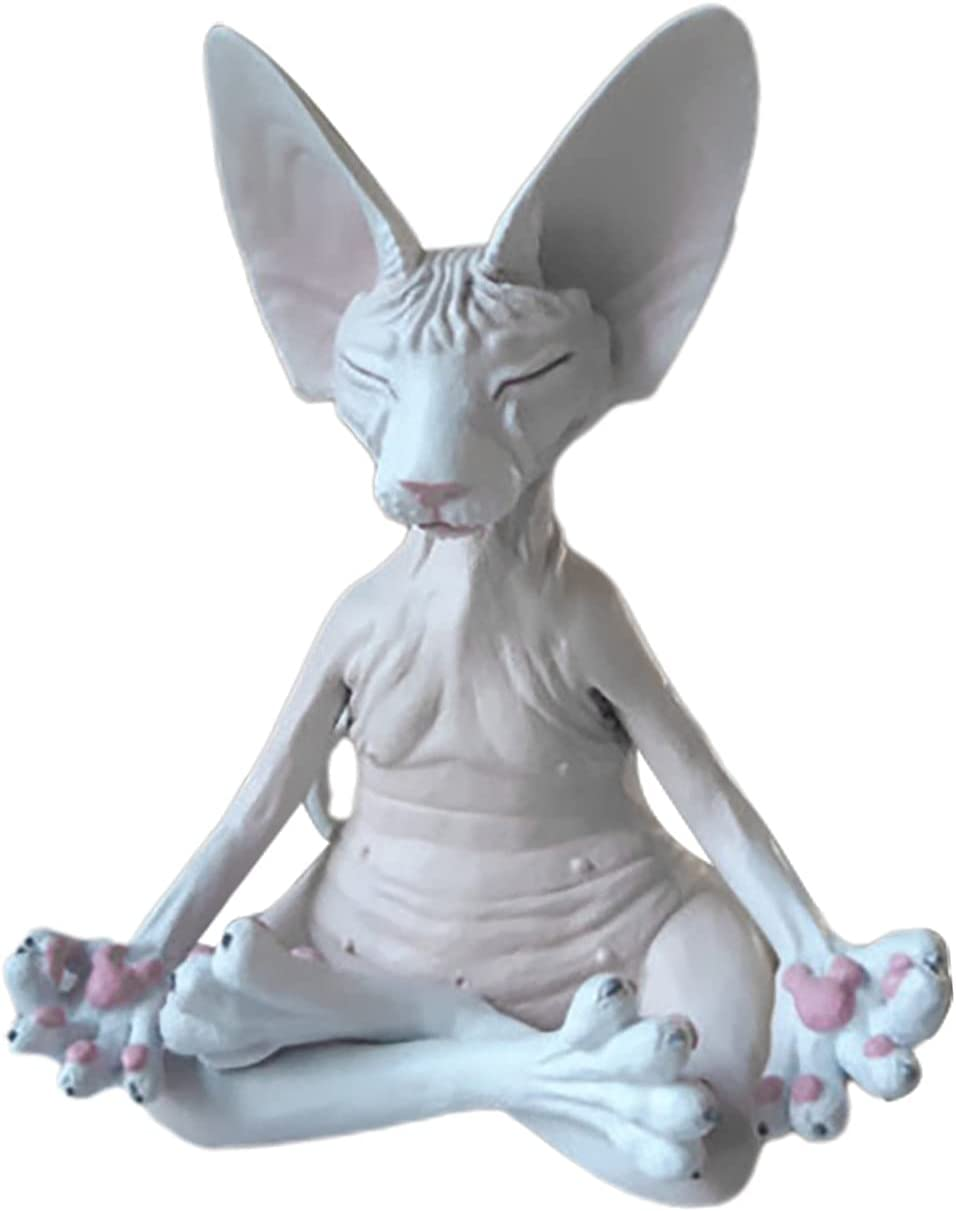 TREED Sphynx Cat Meditate Statue, Funny Collectible Figurines Ze