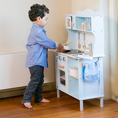 New Classic Toys 11065 Küchenzeile-Modern mit Kochfeld Multi Color – hier in Blau - 4
