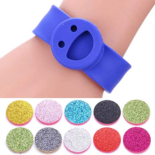 HXCSSK2 Colorful Aromatherapy Bracelet Smile Face Silicone Slap Bracelets Essential Oils Diffuser Bracelet Cute Wristband Child Interesting gift bracelet with 10 pad (Color : B)