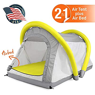 SereneLife Outdoor Inflatable Camping 2 in 1 Airbed Tent |Hiking Blow Up Air Tent Integrated Camping Air Mattress with Hand Pump |Windproof and Waterproof Tent - Camping/Hiking