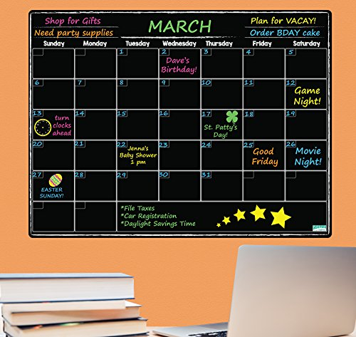 Everase Re-Stic Dry Erase Self-Adhesive Peel & Stick Blackboard Monthly Planner & Calendar (12 x 16 in.) Free Marker & Cloth   Organizer, Walls, Refrigerators   Premium Quality Removable Decal