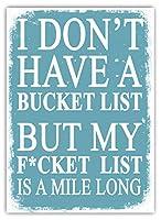 Bucket List 注意看板メタル安全標識壁パネル注意マー表示パネル金属板のブリキ看板情報サイン