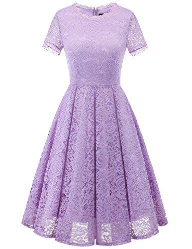 DRESSTELLS Damen Midi Elegant Hochzeit Spitzenkleid Kurzarm Rockabilly Kleid Cocktail Abendkleider Lavender 3XL