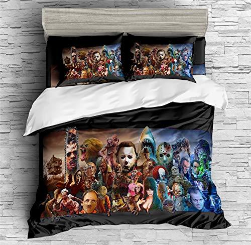Earendel Horror Movie Duvet Cover Set Scary Dark Terror Killer Deco Bedding Horrible Halloween Bed Sets 3/4 PCS Quilt…