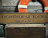 free brand Letrero de madera de Lighthouse Tours, personalizable, con nombre de la ubicación de la playa, decoración rústica hecha a mano, estilo vintage