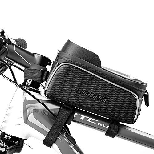 FENGTING Bolsa de marco de tubo de bicicleta,Bolsa de marco frontal de bicicleta,Negro impermeable de gran capacidad Cool pantalla táctil reflectante,Para bicicleta de montaña de carretera