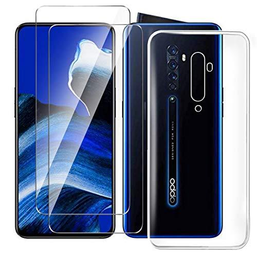 HYMY Hülle für Oppo Reno 2 Smartphone + 2 x Schutzfolie Panzerglas - Transparent Schutzhülle TPU Handytasche Tasche Durchsichtig Klar Silikon Hülle für Oppo Reno 2 (6.5