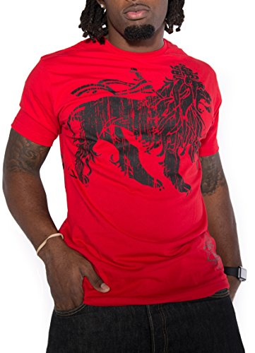 Men's Novelty Graphic Tee T-Shirt Short Sleeves for Reggae Music Fans Collection (Red Lion, Large)