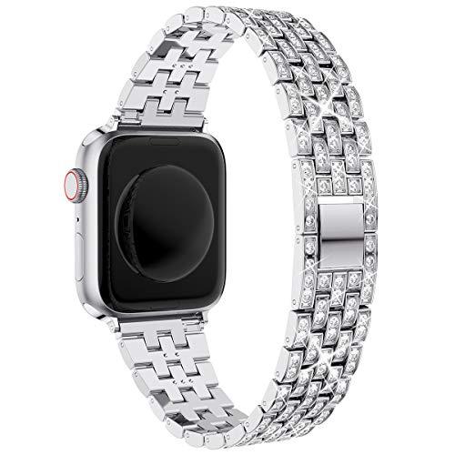 wlooo Glitter Correa para Apple Watch 44mm 42mm 40mm 38mm, Bling Pulsera Hombres Mujeres Cristal Diamante Metal Inoxidable Correa de Repuesto para iWatch Seriea SE 6 5 4 3 2 1 (Plata, 38/40mm)