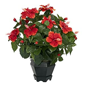 Nearly Natural 6691 Hibiscus with Black Hexagon Vase Decorative Silk Plant, Orange