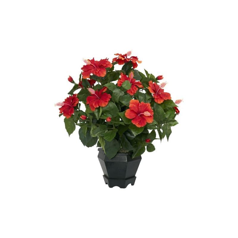 silk flower arrangements nearly natural 6691 hibiscus with black hexagon vase decorative silk plant, orange