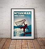 AZSTEEL Vintage Poster Myanmar Inle Lake Blue   Poster No