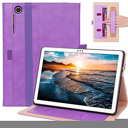 XHEVAT Funda de piel para tablet Huawei Enjoy Tablet 2 de 10,1', diseño retro, con textura horizontal, con soporte, ranuras para tarjetas y correa de mano, color morado