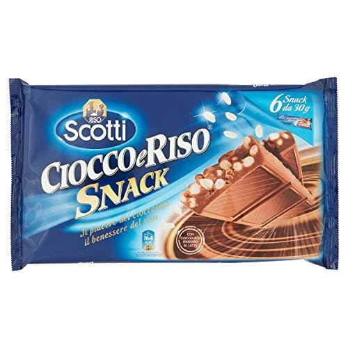 Scotti - Ciocco e Riso Snack, Barrette di Cioccolato Finissimo al Latte con Riso Soffiato, Pacco da 6X30 g, totale: 180 g