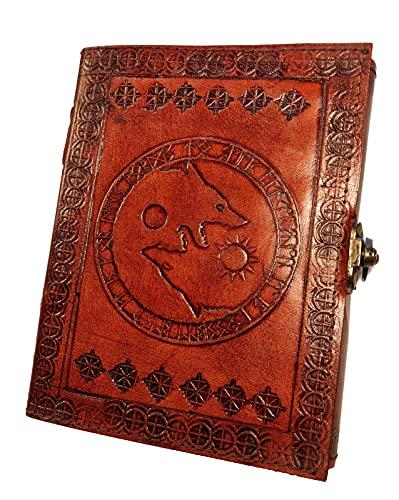 Kooly Zen - Cuaderno de notas para diario, libro, álbumes, libro de invitados, cuaderno de dibujo, scrapbook, trepador, piel auténtica, lobo fenrir, vintage, 13 cm x 17 cm, 240 páginas, papel premium