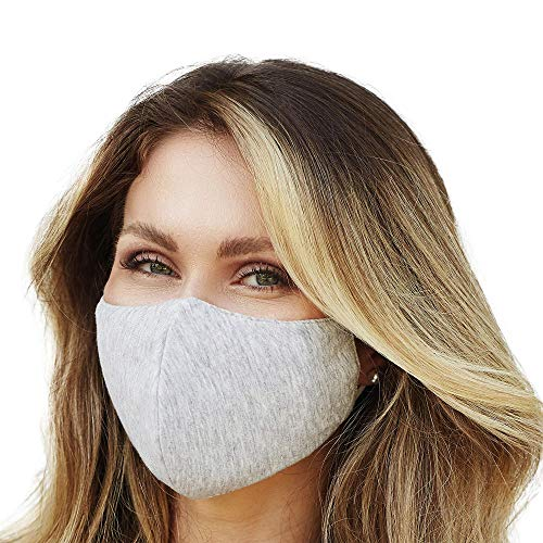 Washable Face Mask with Adjustable Ear Loops & Nose Wire - 3 Layers, 100% Cotton Inner Layer - Cloth Reusable Face Protection with Filter Pocket - Made in USA - (Heather Grey)