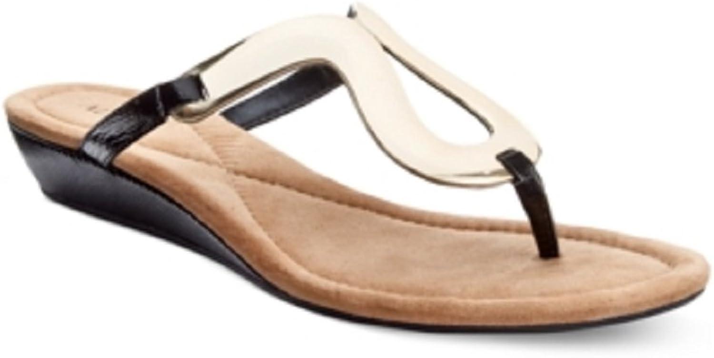 Alfani Womens Farynn Wedge Sandals Black 7.5M