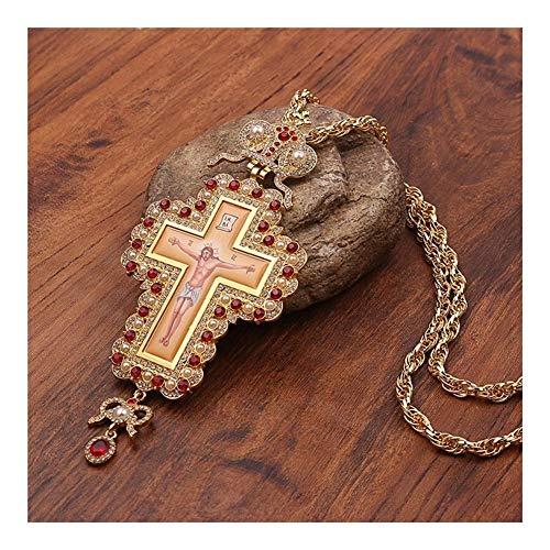 LSBXWL Gold Russisch Brust orthodoxen Pastor Kreuz Jesus-Kruzifix-Halskette und Anhänger Religiöse Bastelbedarf Geschenke (Metal Color : XL1998)