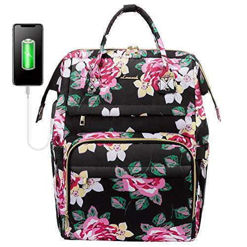 Laptop Rucksack Damen, LOVEVOOK Wasserdicht Schulrucksack Mädchen Teenager Blumen mit USB Ladeanschluss, Business Rucksack Rosenmuster, für 13-15,6 Zoll Computer,Uni Reisen Arbeit