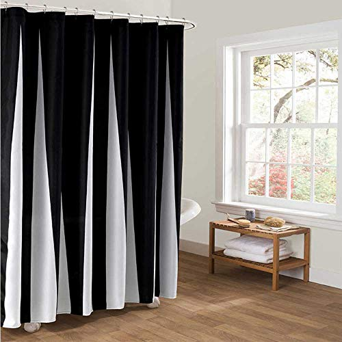 GIORDON Shower Curtain Sets for Bathroom 100% Polyester Liner Resistant Simple Striped Fabric with 12 Plastic Hooks,70' x 72' Black/White (Black/White, 70' x 72')