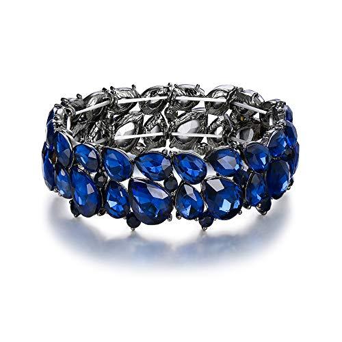 EVER FAITH Braccialetto Donna, Abiti Gioielli Cristallo Art Deco 2 Strato Goccia Elasticità Bracciale per Donne Blu Colore Zaffiro Nero-Fondo