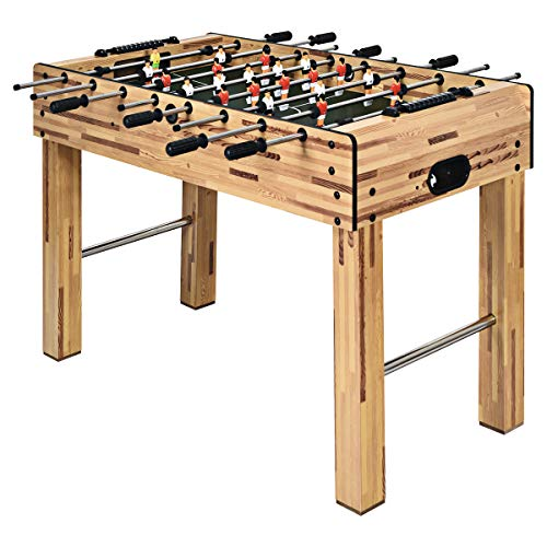 """Goplus 48"""" Foosball Table, Easy-Assemble Soccer Game Table w/ 2 Balls, Competition Sized Foosball Games for Home, Game Room, Arcade (Nature)"""