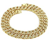 Diamond Full Iced Hip Hop Celebrity Style Man Necklace Gold Tone Miami LA Cuban Link Chain 30 Inch 240 Gram